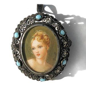 Vintage 800 Silver Hand Painted Portrait Brooch